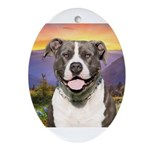 Pit Bull Meadow Ornament (Oval)