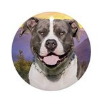 Pit Bull Meadow Ornament (Round)