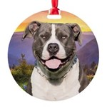 Pit Bull Meadow Round Ornament