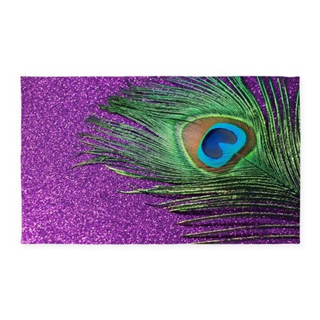 Glittery Purple Peacock 3'x5' Area Rug