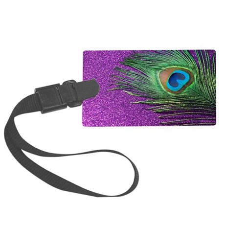 Glittery Purple Peacock Large Luggage Tag