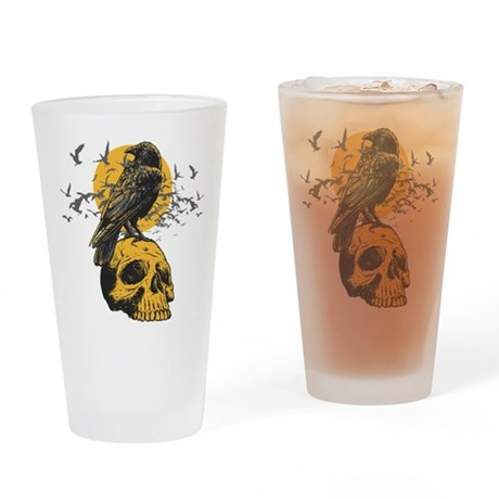 Skull and Crow Drinking Glass