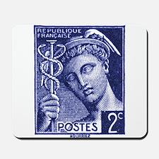 1939 France Mercury Postage Stamp Blue Mousepad