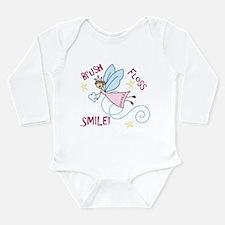 Brush Floss Smile Long Sleeve Infant Bodysuit