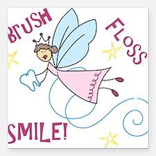 "Brush Floss Smile Square Car Magnet 3"" x 3"""