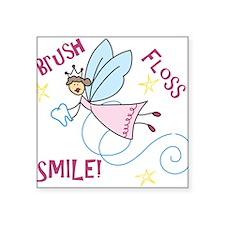 "Brush Floss Smile Square Sticker 3"" x 3"""