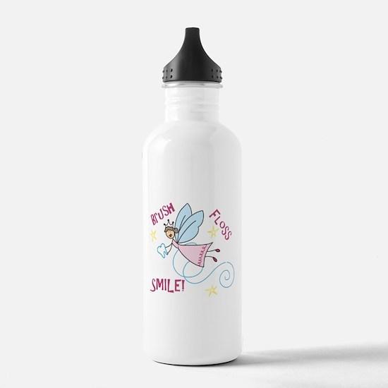 Brush Floss Smile Water Bottle