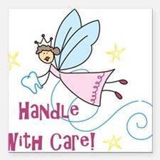 """Handle With Care Square Car Magnet 3"""" x 3"""""""