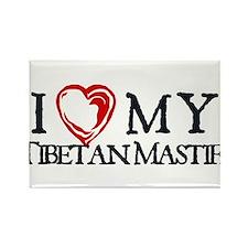 I Heart My Tibetan Mastiff Rectangle Magnet
