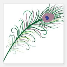"Green Peacock Feather Square Car Magnet 3"" x 3"""