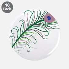 """Green Peacock Feather 3.5"""" Button (10 pack)"""