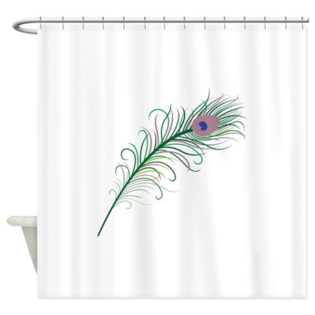 Green Peacock Feather Shower Curtain By Natureslittletreasures
