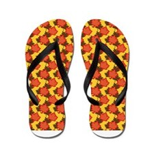 Orange Autumn Leaves Flip Flops