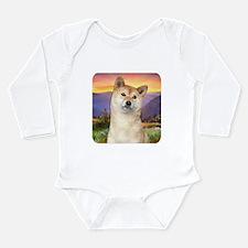 Shiba Inu Meadow Long Sleeve Infant Bodysuit