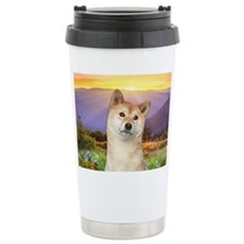 Shiba Inu Meadow Travel Mug