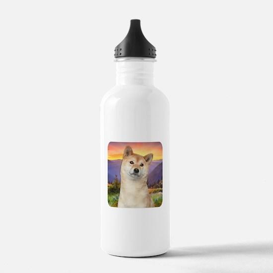 Shiba Inu Meadow Water Bottle