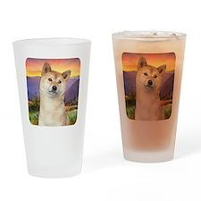 Shiba Inu Meadow Drinking Glass