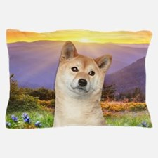 Shiba Inu Meadow Pillow Case