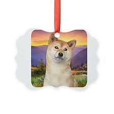 Shiba Inu Meadow Ornament
