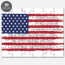 Pledge American flag color Grunge Puzzle
