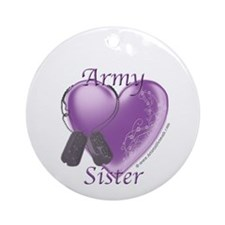 Army Sister Heart Ornament (Round)