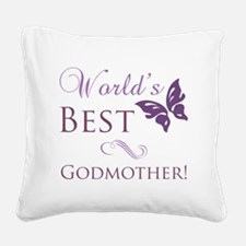World's Best Godmother Square Canvas Pillow