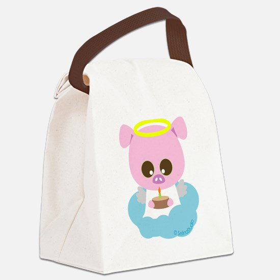 pig angel2.png Canvas Lunch Bag