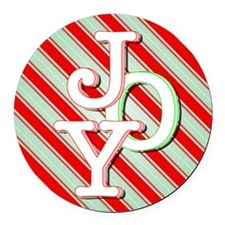 JOY on stripes Round Car Magnet