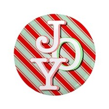 """JOY on stripes 3.5"""" Button"""