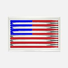 Patriotic USA Drumstick Flag Drum Rectangle Magnet