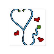 "Stethoscope Square Sticker 3"" x 3"""