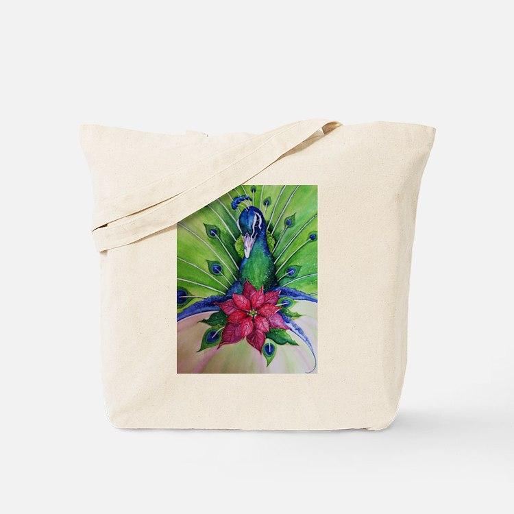 Peacock Christmas Tote Bag