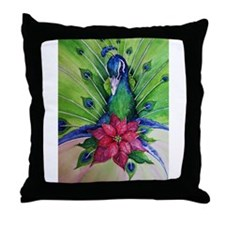 Peacock Christmas Throw Pillow
