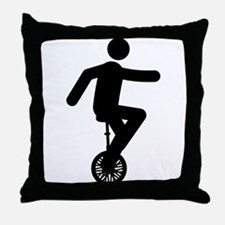 Unicycle Rider Throw Pillow