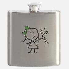 Girl & Clarinet - Green Flask