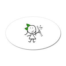 Girl & Clarinet - Green Wall Decal