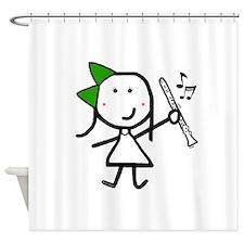 Girl & Clarinet - Green Shower Curtain