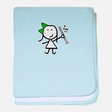 Girl & Clarinet - Green baby blanket