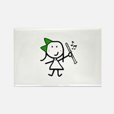 Girl & Clarinet - Green Rectangle Magnet