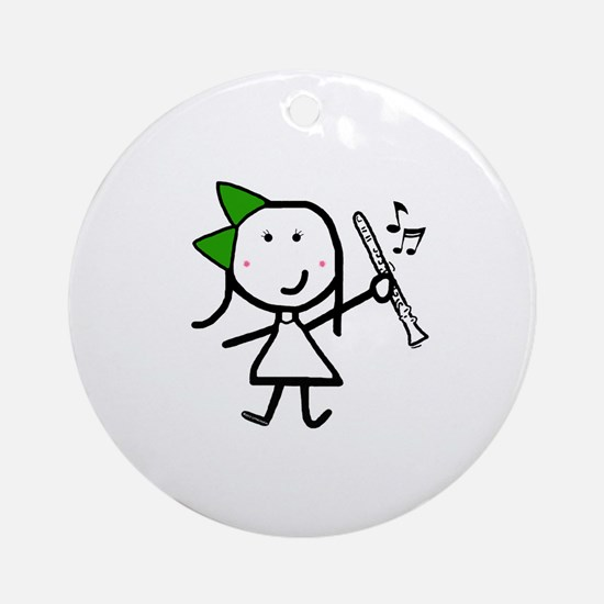 Girl & Clarinet - Green Ornament (Round)