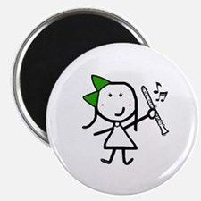 "Girl & Clarinet - Green 2.25"" Magnet (100 pack)"