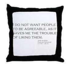 Cute Jane austen Throw Pillow