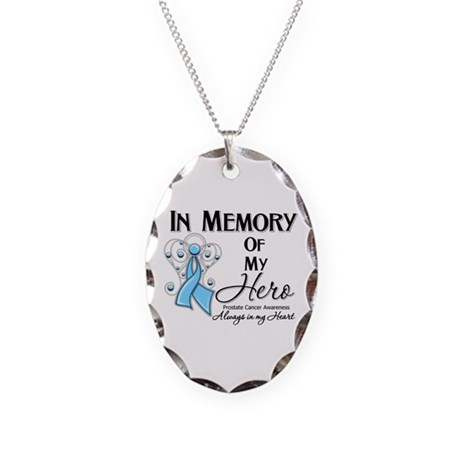 In Memory Prostate Cancer Necklace Oval Charm
