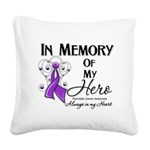 In Memory Pancreatic Cancer Square Canvas Pillow