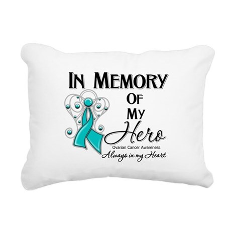 In Memory Ovarian Cancer Rectangular Canvas Pillow