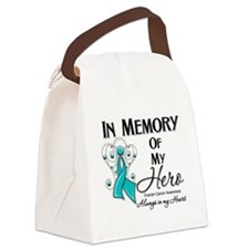 In Memory Ovarian Cancer Canvas Lunch Bag