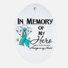 In Memory Ovarian Cancer Ornament (Oval)
