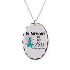 In Memory Ovarian Cancer Necklace Oval Charm