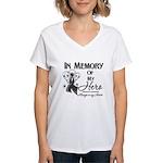 In Memory Hero Melanoma Women's V-Neck T-Shirt