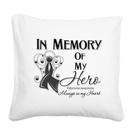 In Memory Hero Melanoma Square Canvas Pillow